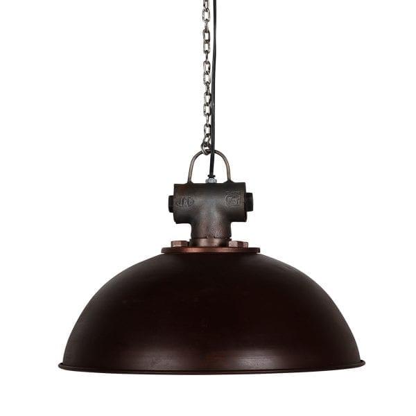 Lampe de plafond industrielle couleur rouille.
