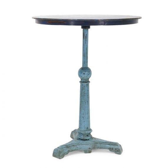 Mesas de bar redondas en metal.