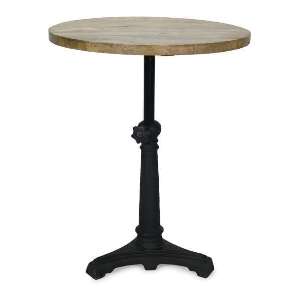 Mesas para bar redondas con pie central de hierro fundido.