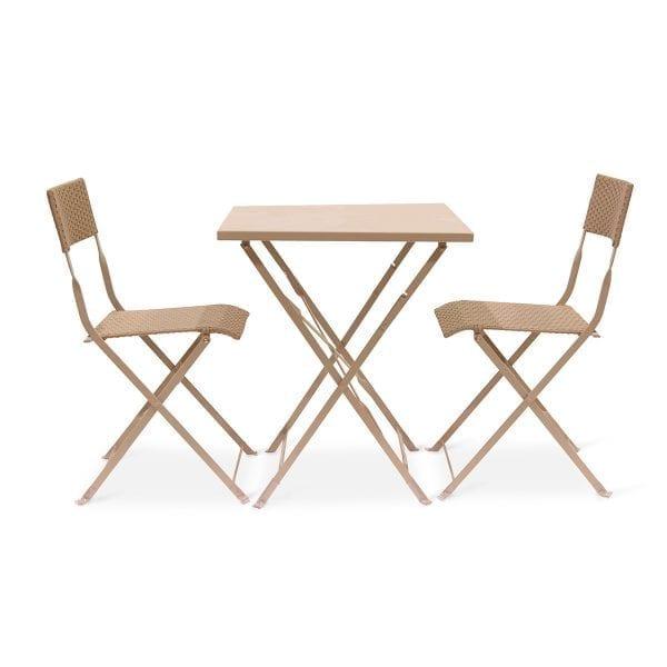 Fotos. Conjunto de sillas y mesas plegables Capella gris.