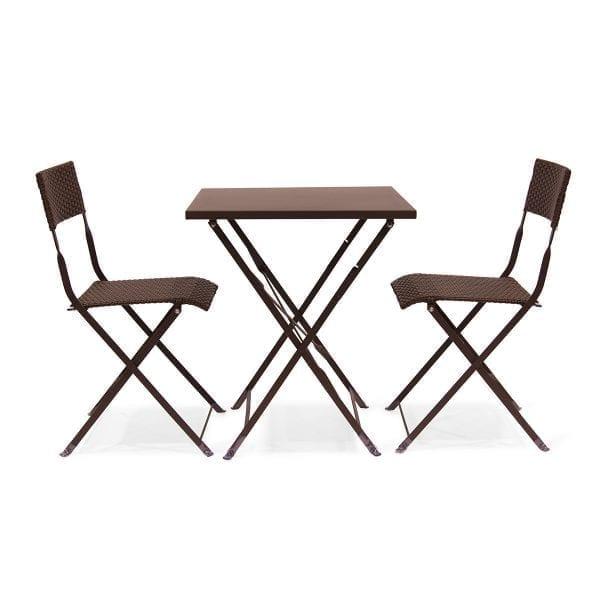 Fotos. Conjunto de sillas y mesas plegables Capella marrón.
