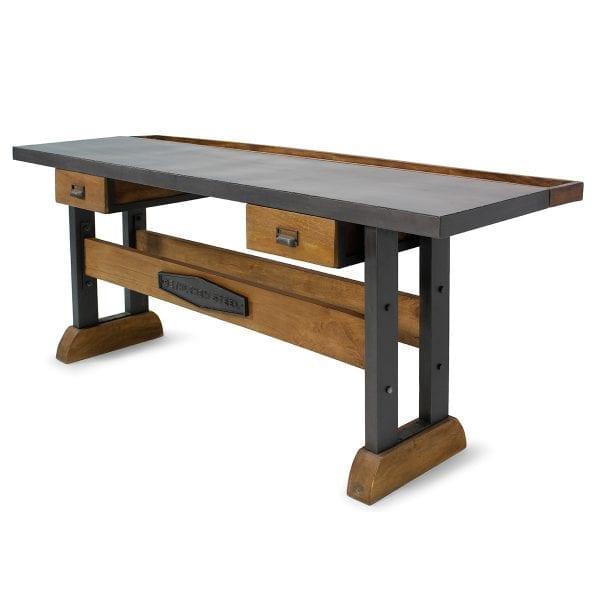 Table de magasin en bois de mangue et en fer.
