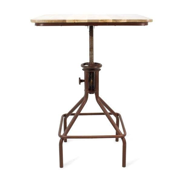 Table de restaurant industrielle réglable en hauteur.
