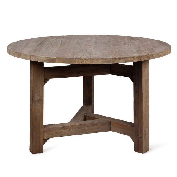 Table ronde en bois pour aménagement de bistrot.