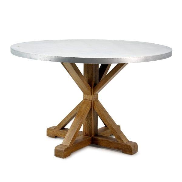 Table ronde de style vintage et industriel pour restaurant.