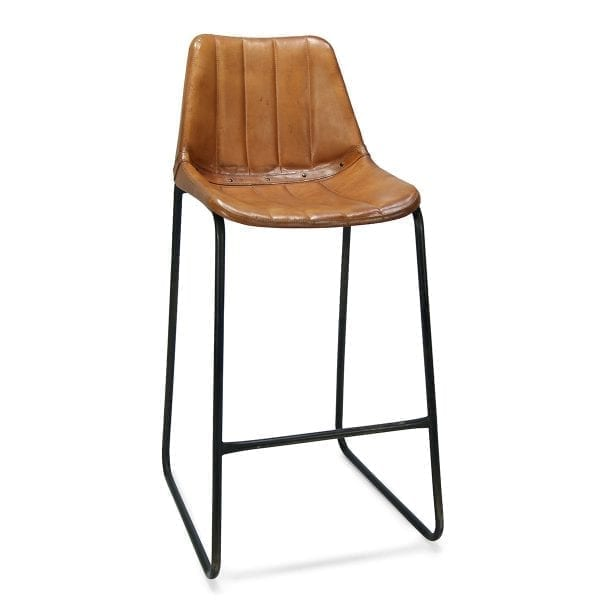 Imagen de los taburetes para hostelería en piel de diseño vintage, Mews Rayas.