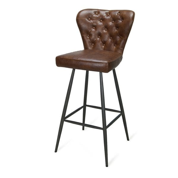 Tabourets de bar retro marron en cuir.