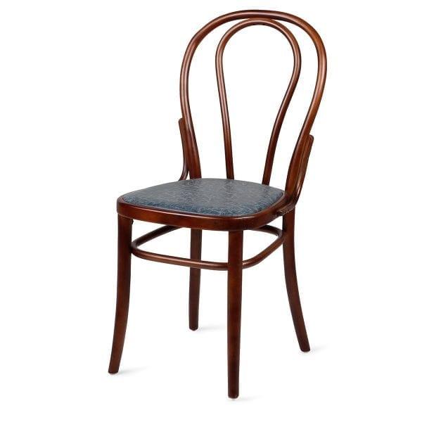 Chaise de bistrot ou bar vintage bleue.