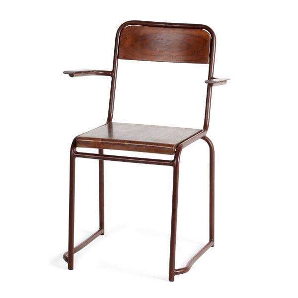 Chaise en bois avec accoudoirs pour bar.