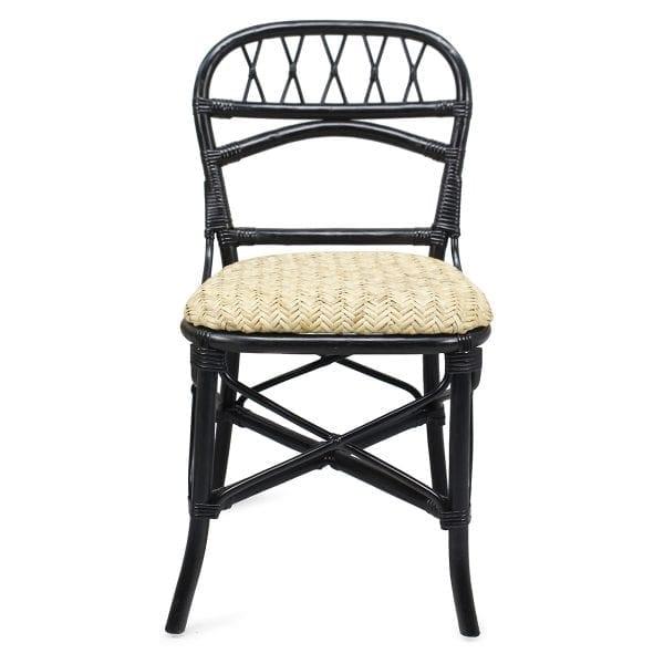 Chaise de bar ou de brasserie en rotin noire.