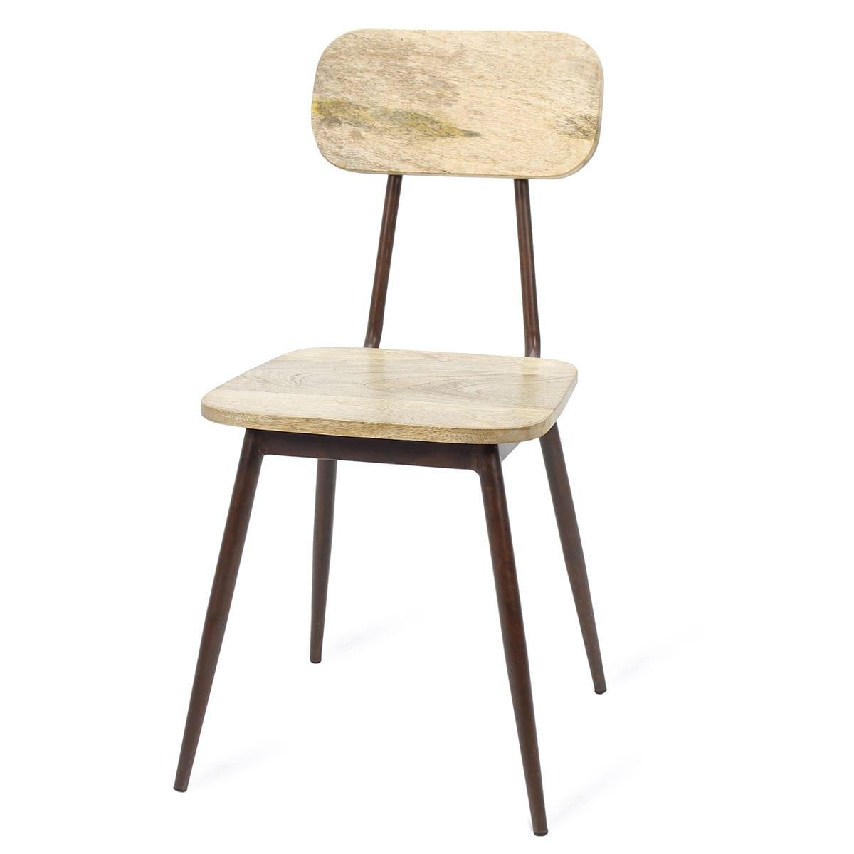 chaise de bar en bois et en m tal de style industriel. Black Bedroom Furniture Sets. Home Design Ideas