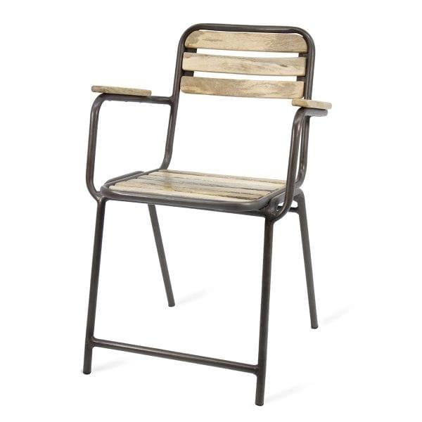 Chaises de cafétéria en bois de mangue.