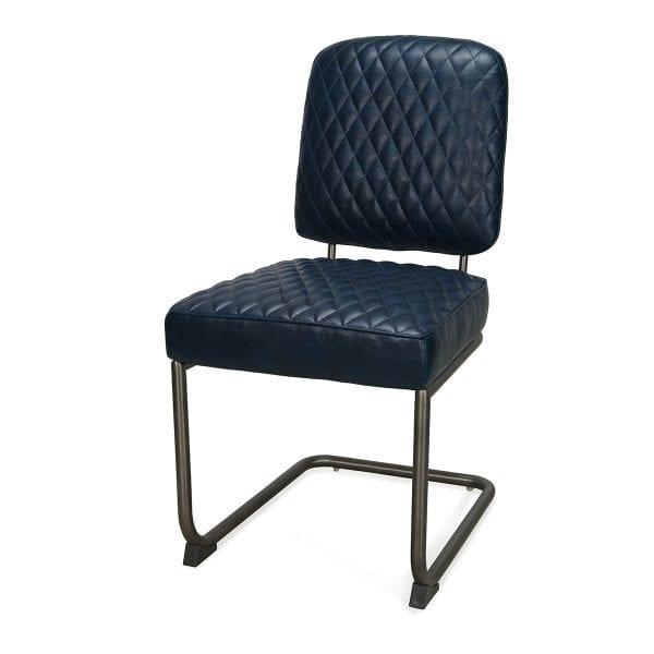Chaise cuir decoration york bleue.