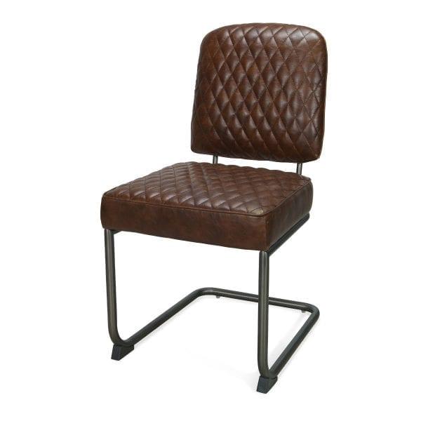 Chaise cuir decoration york marron.