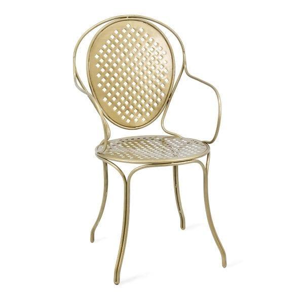 Chaise dorée très élégante en métal pour hôtellerie.