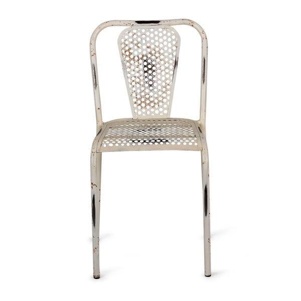 Chaise industrielle blanche pour restaurant.