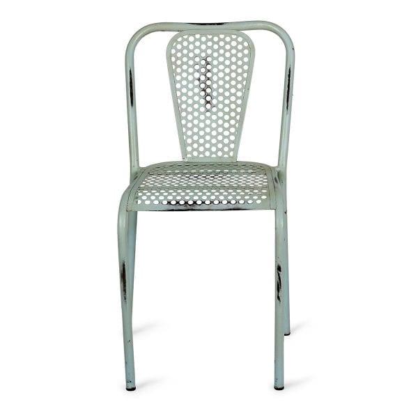 Chaise industrielle bleue pour restaurant.