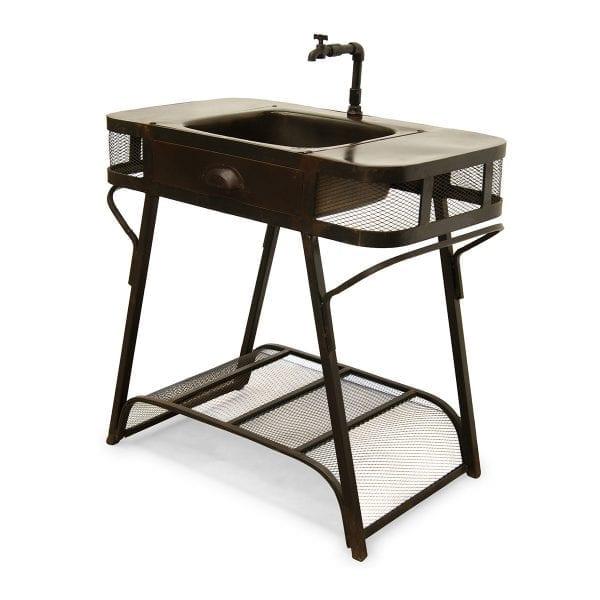 Photo.Meuble lavabo en métal.