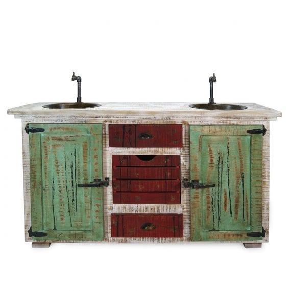 Meuble lavabo en bois restauration Bianca.