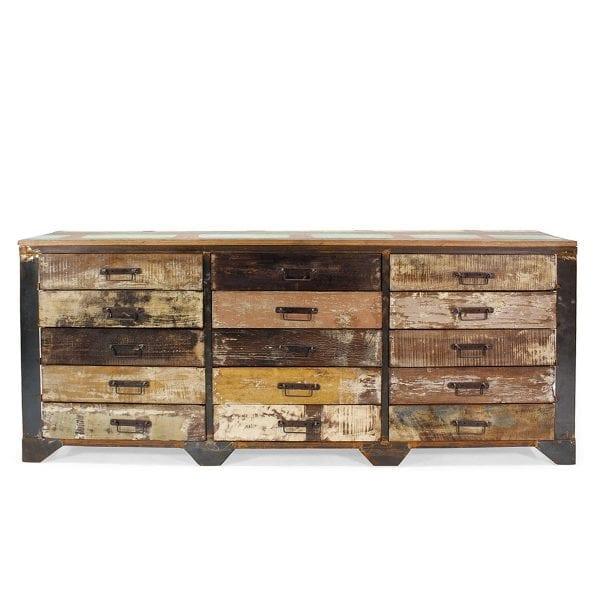 Meuble présentoir de magasin en bois.