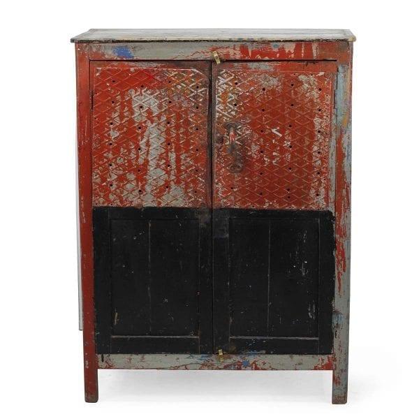 Meuble de bar vintage rouge.