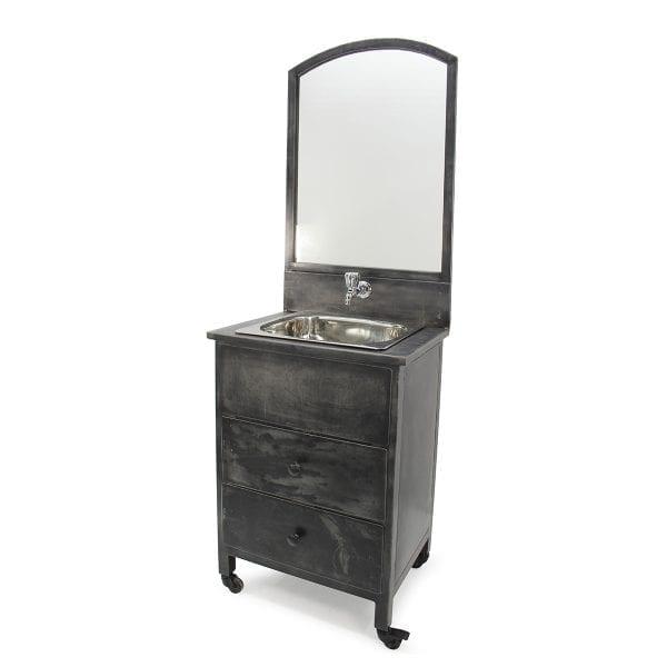 Meubles lavabo pour aménagement de toilettes de restaurant.