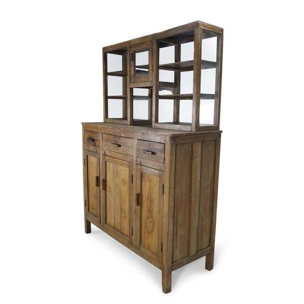 Imagen del mostrador para comercios en madera natural.