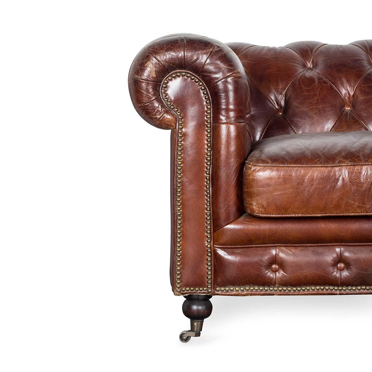 Sof chester estilo vintage piel italiana francisco segarra - Sofa piel vintage ...