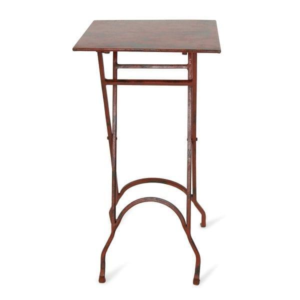 Photo.Table auxiliaire carrée pliable en fer pour les cafétérias.