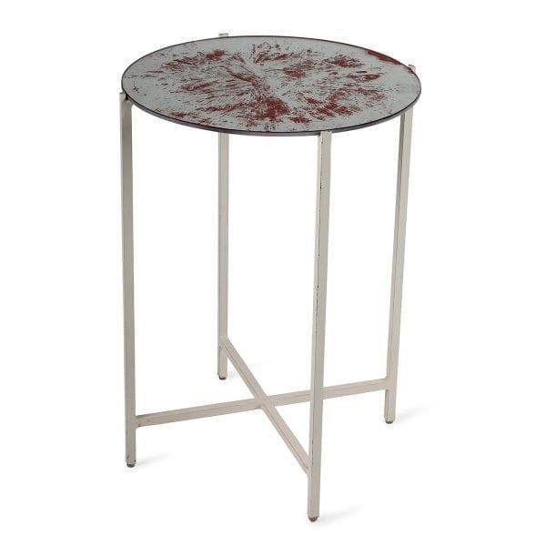 Table d'appoint ronde en verre.