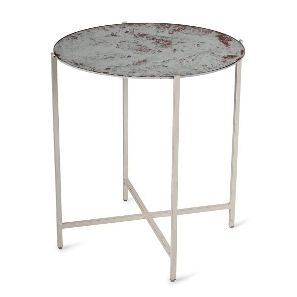 Table d'appoint vintage ronde en verre.