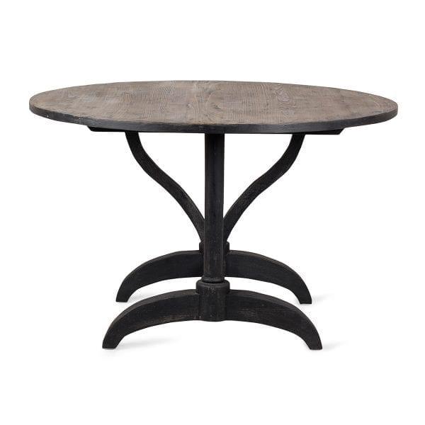 Table ronde vintage en bois pour bar.