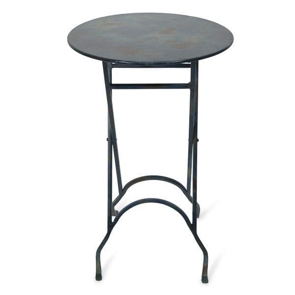 Photo.Table auxiliaire ronde pliable en fer pour les commerces.