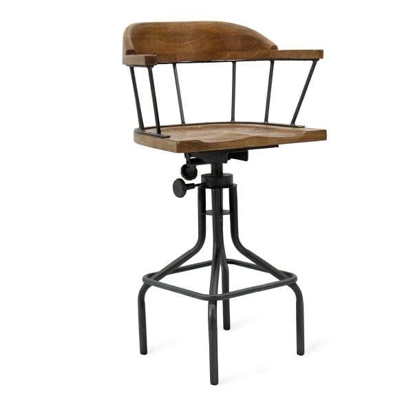 Tabouret pour bar vintage en bois de mangue et en fer.