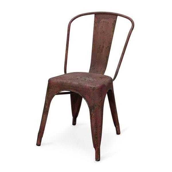 Chaise en métal de Francisco Segarra, chaise rouge, Mobilier Vintage,