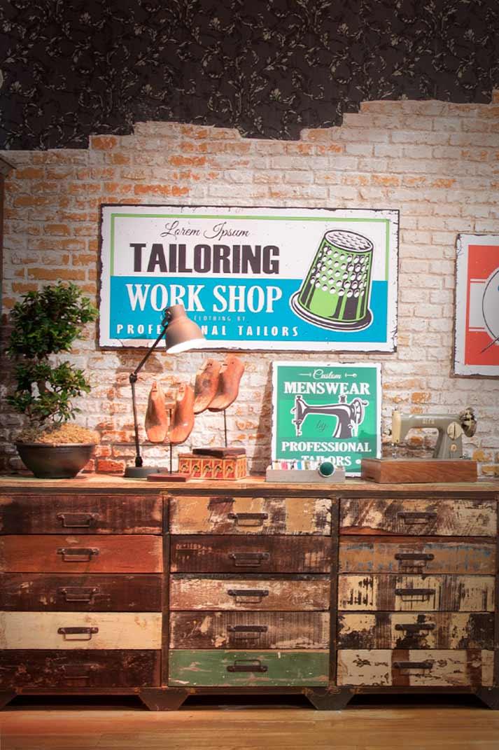 Decoración vintage taller de costura.