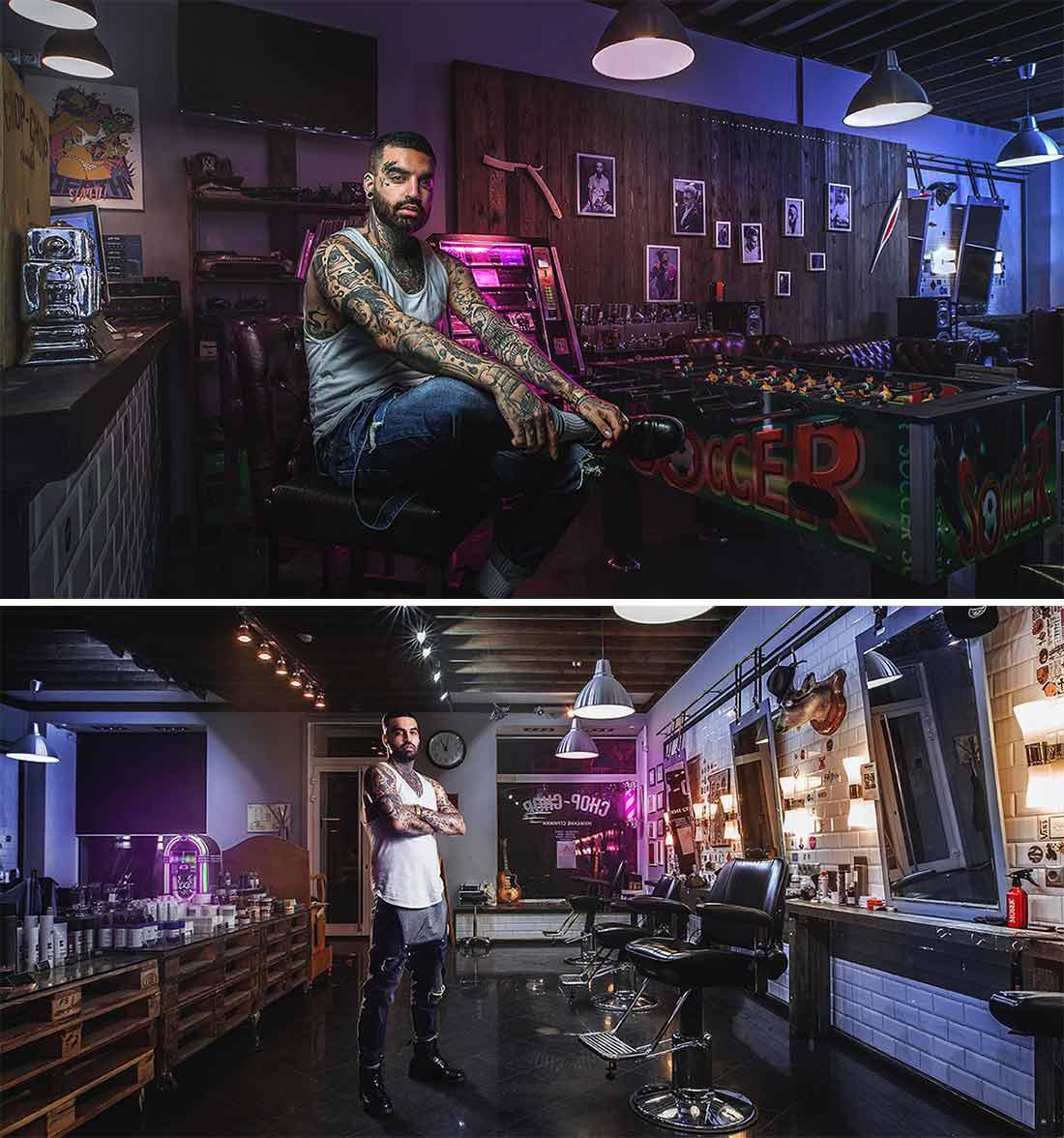 Décoration de barbershop et salons.