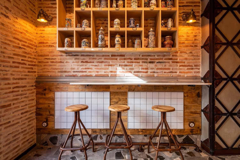 Décoration intérieure pour brasserie.