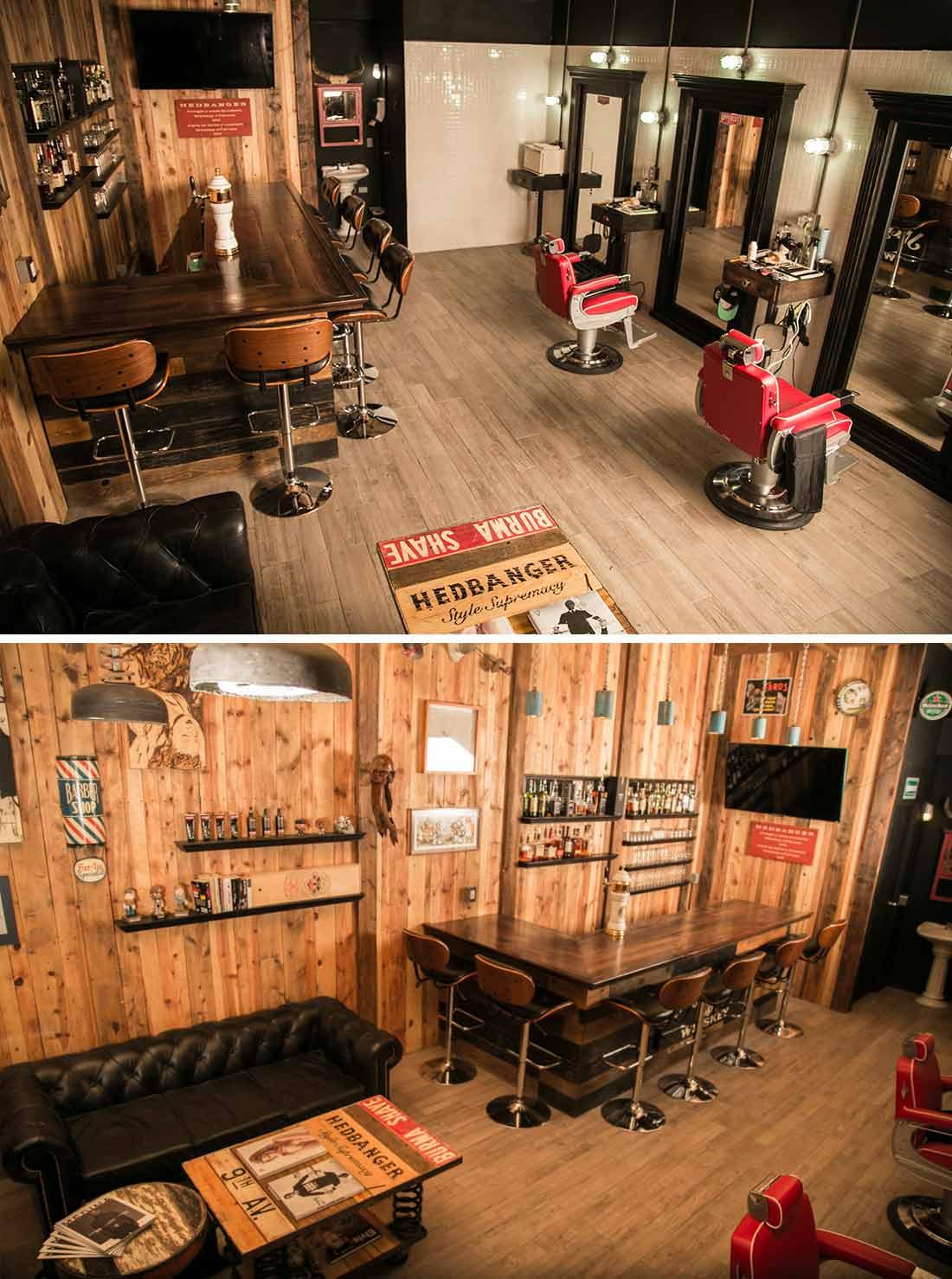 Exemples décoration et agencement barbershop.