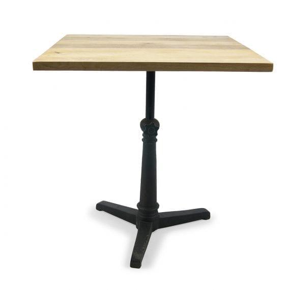 Mesas para bar cuadradas con pie central de hierro fundido. Modelo Aruca.