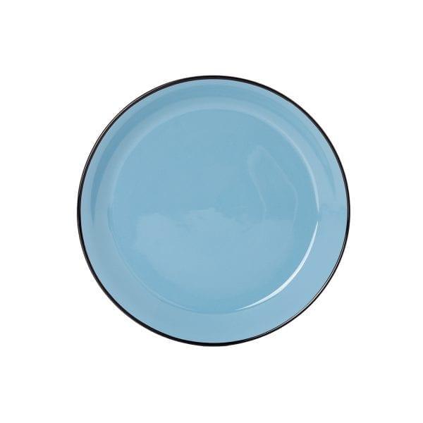 Plato llano en cerámica azul.
