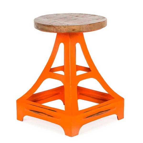 Silla taburete en color naranja modelo Eiffel.