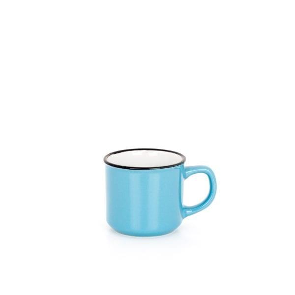 Taza azul para restaurante.