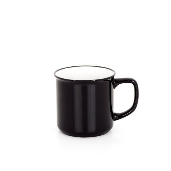 Taza negra en cerámica para cafetería.