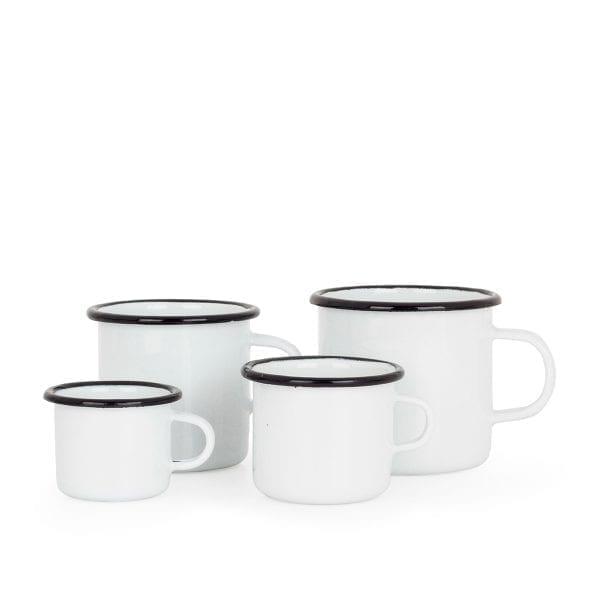 Tazas enamel para diseño de cafetería.