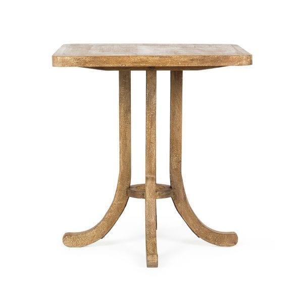 Mesas para cafetería en madera de mango con sobre cuadrado.