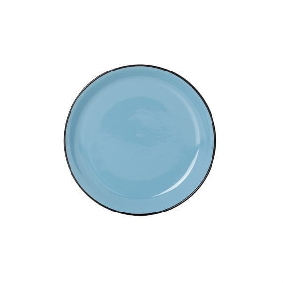 Small blue plate for hospitality.