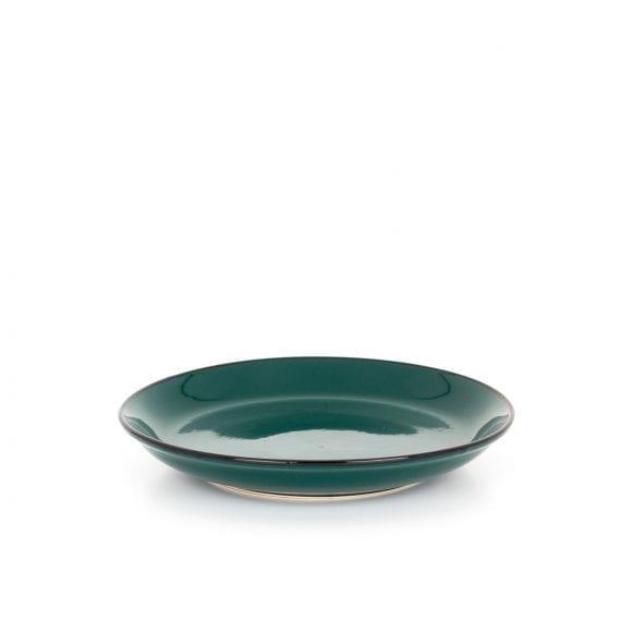 Small green ceramic plate.