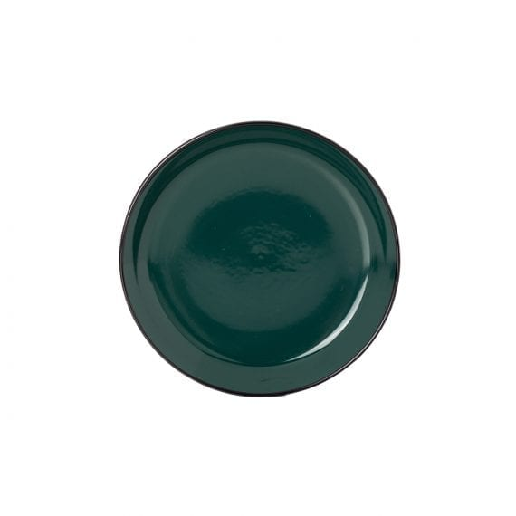 Small green plate for hospitality.