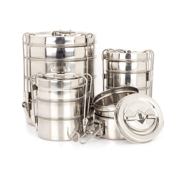Stainless steel tiffins for restaurant.